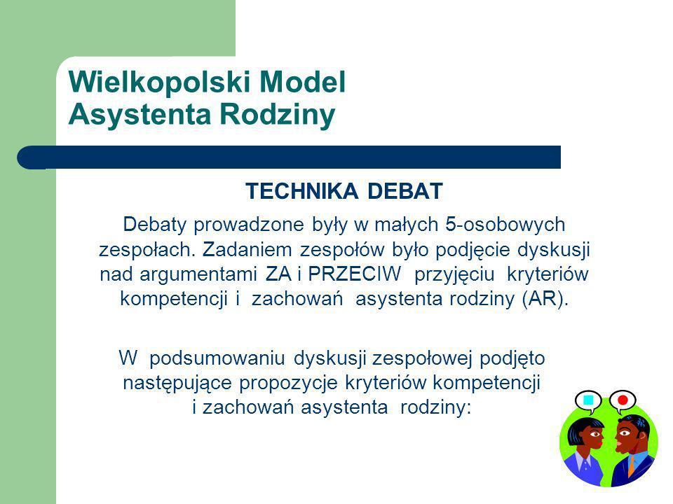 Wielkopolski Model Asystenta Rodziny TECHNIKA DEBAT Debaty prowadzone były w małych 5-osobowych zespołach.