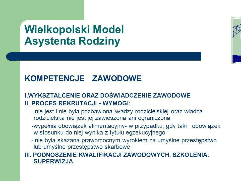 Wielkopolski Model Asystenta Rodziny ASYSTENT RODZINY VS ŚRODOWISKO RODZINNE zasada samostanowienie rodziny asystent rodziny jako edukator i informator aspekt etyczny