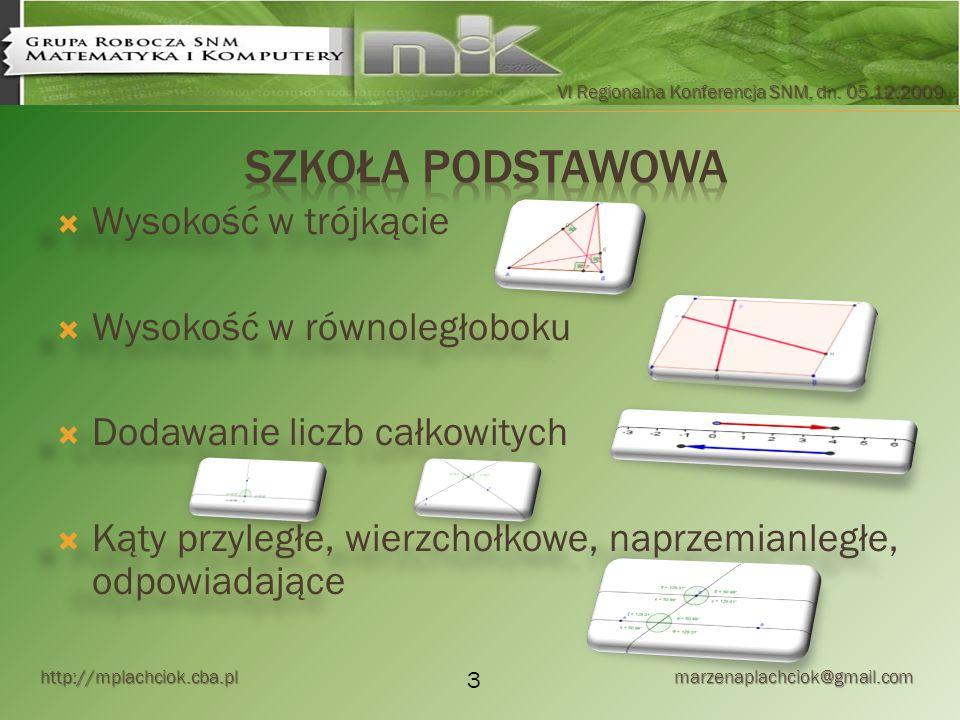 http://mplachciok.cba.pl marzenaplachciok@gmail.com VI Regionalna Konferencja SNM, dn. 05.12.2009 Wysokość w trójkącie Wysokość w równoległoboku Dodaw