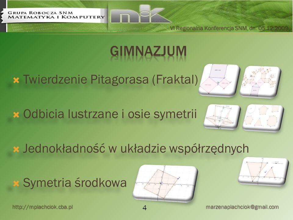 http://mplachciok.cba.pl marzenaplachciok@gmail.com VI Regionalna Konferencja SNM, dn. 05.12.2009 Twierdzenie Pitagorasa (Fraktal) Odbicia lustrzane i