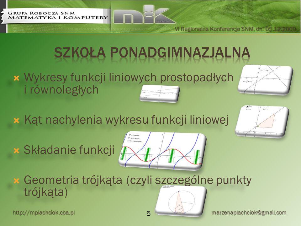 http://mplachciok.cba.pl marzenaplachciok@gmail.com VI Regionalna Konferencja SNM, dn. 05.12.2009 Wykresy funkcji liniowych prostopadłych i równoległy