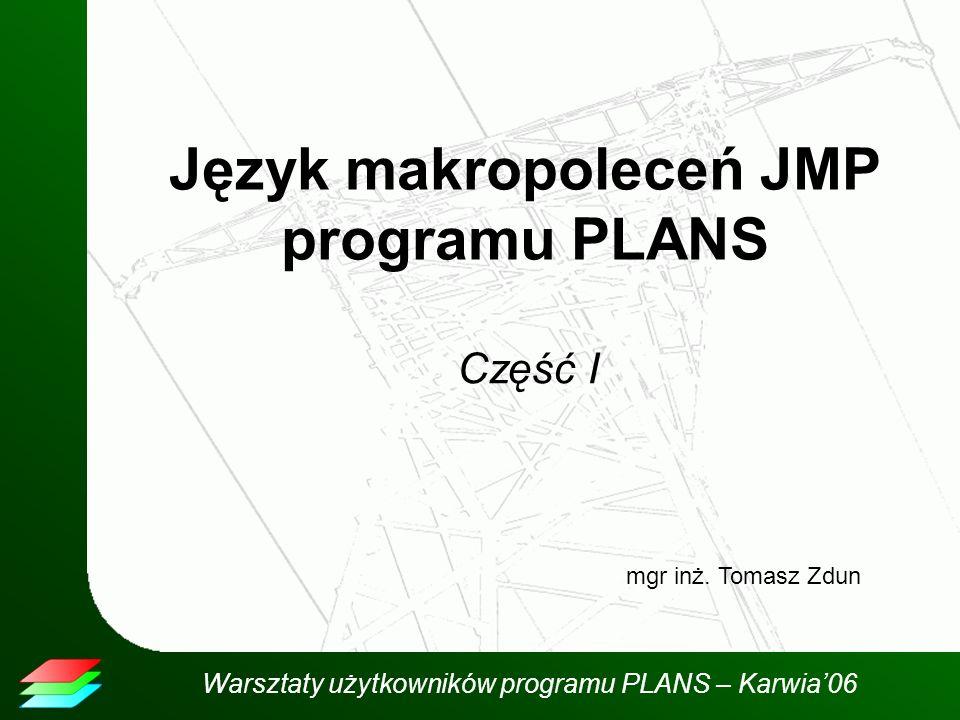 Warsztaty użytkowników programu PLANS – Karwia06 Język makropoleceń JMP programu PLANS Część I mgr inż.