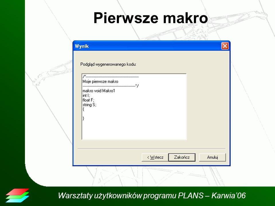 Warsztaty użytkowników programu PLANS – Karwia06 Pierwsze makro