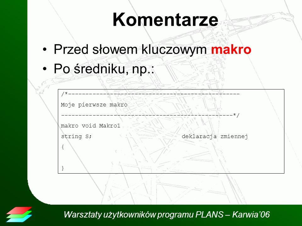 Warsztaty użytkowników programu PLANS – Karwia06 Komentarze Przed słowem kluczowym makro Po średniku, np.: /*------------------------------------------------- Moje pierwsze makro -------------------------------------------------*/ makro void Makro1 string S;deklaracja zmiennej { }