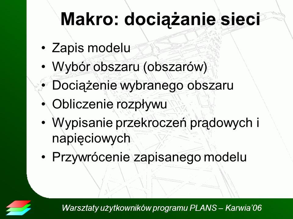 Warsztaty użytkowników programu PLANS – Karwia06 Makro: dociążanie sieci Zapis modelu Wybór obszaru (obszarów) Dociążenie wybranego obszaru Obliczenie rozpływu Wypisanie przekroczeń prądowych i napięciowych Przywrócenie zapisanego modelu