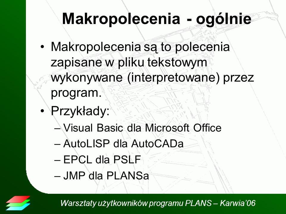 Warsztaty użytkowników programu PLANS – Karwia06 Makropolecenia - ogólnie Makropolecenia są to polecenia zapisane w pliku tekstowym wykonywane (interpretowane) przez program.