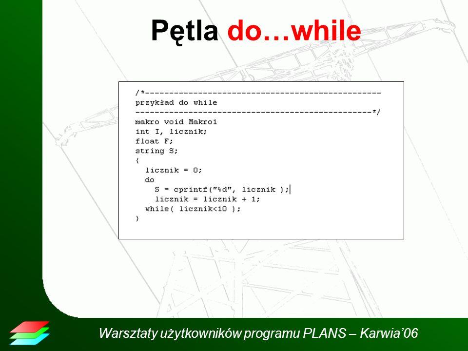 Warsztaty użytkowników programu PLANS – Karwia06 Pętla do…while
