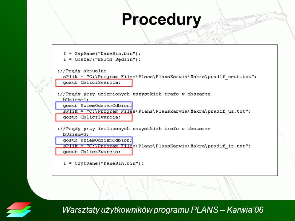 Warsztaty użytkowników programu PLANS – Karwia06 Procedury