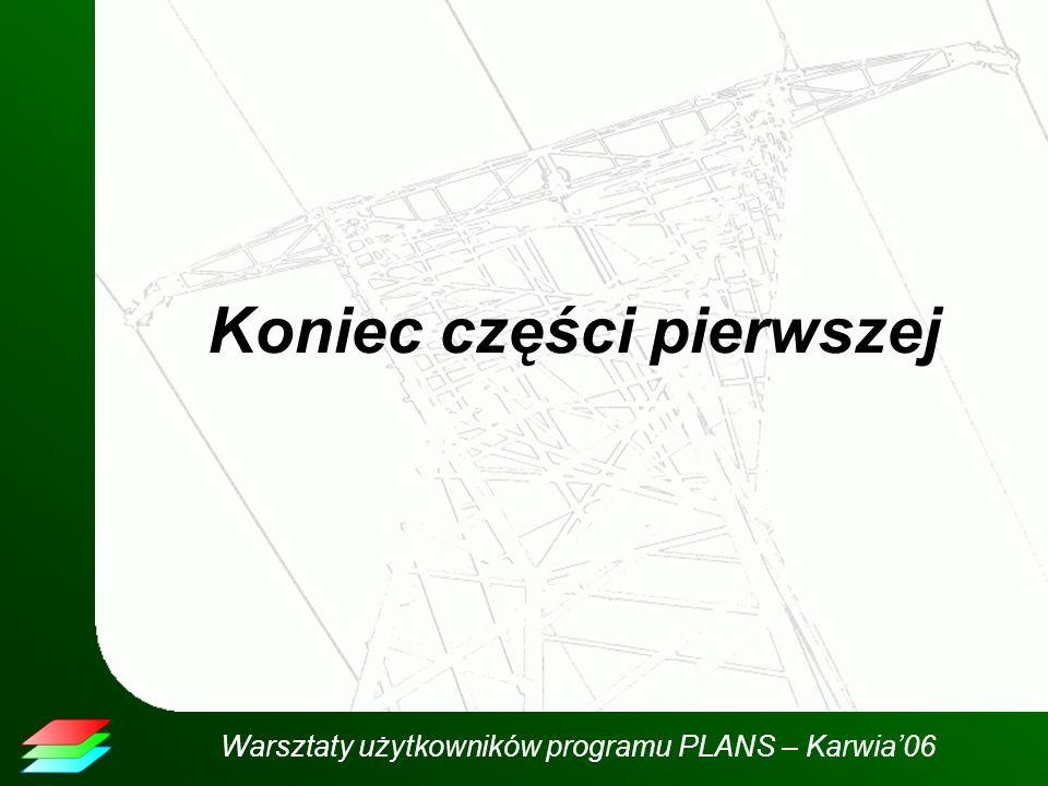 Warsztaty użytkowników programu PLANS – Karwia06 Koniec części pierwszej