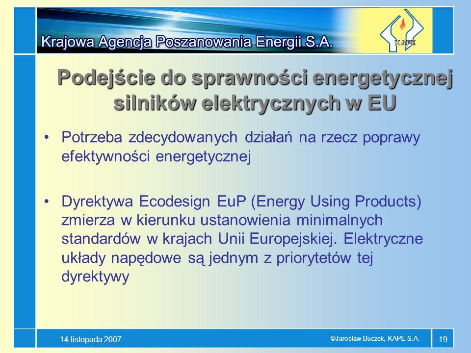 14 listopada 2007 ©Jarosław Buczek, KAPE S.A. 19 Potrzeba zdecydowanych działań na rzecz poprawy efektywności energetycznej Dyrektywa Ecodesign EuP (E