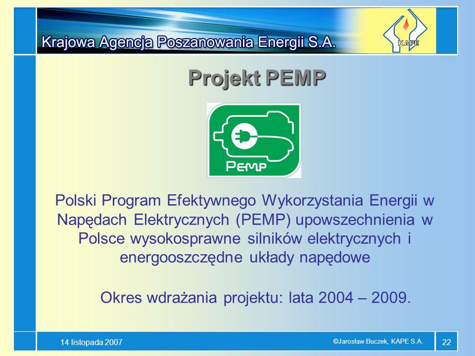 14 listopada 2007 ©Jarosław Buczek, KAPE S.A. 22 Projekt PEMP Polski Program Efektywnego Wykorzystania Energii w Napędach Elektrycznych (PEMP) upowsze