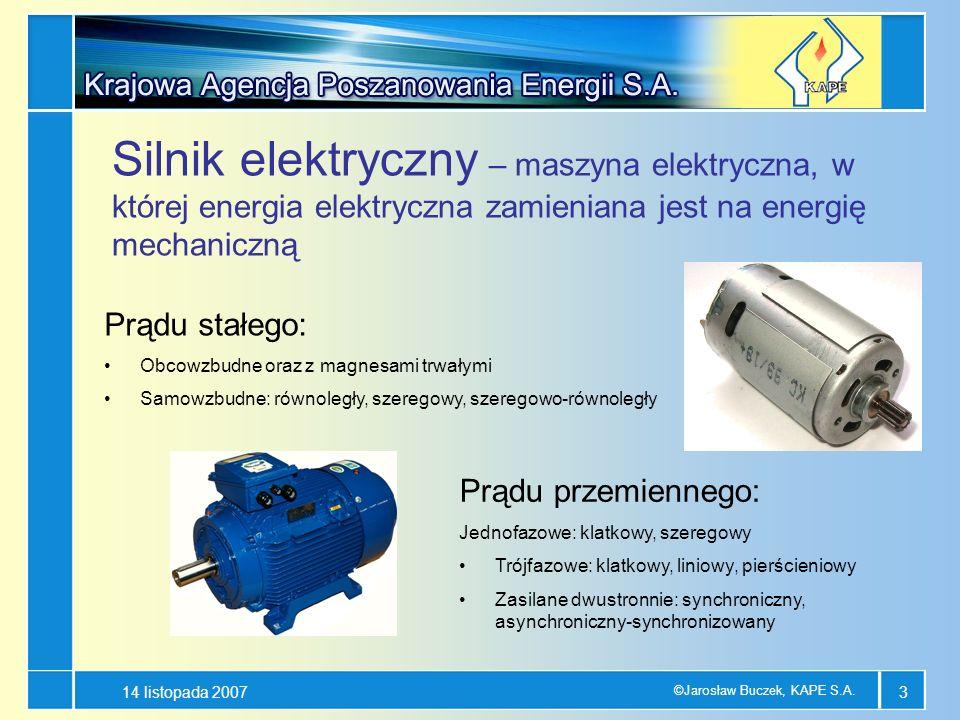 14 listopada 2007 ©Jarosław Buczek, KAPE S.A. 3 Silnik elektryczny – maszyna elektryczna, w której energia elektryczna zamieniana jest na energię mech