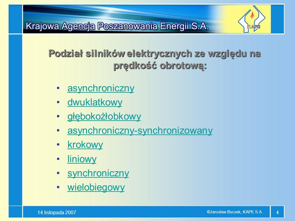 14 listopada 2007 ©Jarosław Buczek, KAPE S.A. 4 asynchroniczny dwuklatkowy głębokożłobkowy asynchroniczny-synchronizowany krokowy liniowy synchroniczn