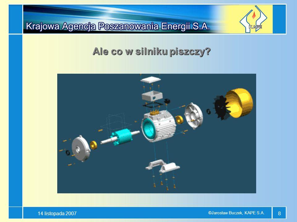 14 listopada 2007 ©Jarosław Buczek, KAPE S.A. 8 Ale co w silniku piszczy?