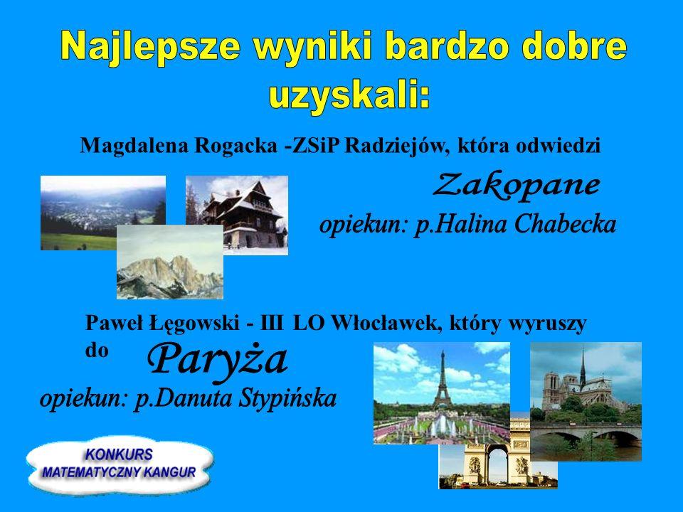 Magdalena Rogacka -ZSiP Radziejów, która odwiedzi Paweł Łęgowski - III LO Włocławek, który wyruszy do