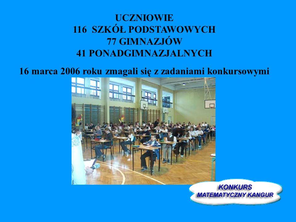 UCZNIOWIE 116 SZKÓŁ PODSTAWOWYCH 77 GIMNAZJÓW 41 PONADGIMNAZJALNYCH 16 marca 2006 roku zmagali się z zadaniami konkursowymi