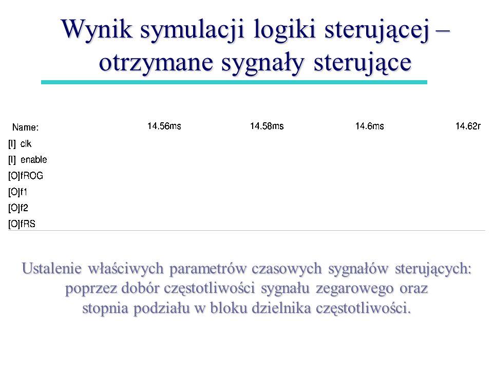 Wynik symulacji logiki sterującej – otrzymane sygnały sterujące Ustalenie właściwych parametrów czasowych sygnałów sterujących: poprzez dobór częstotl