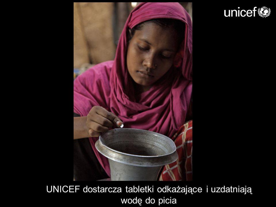 UNICEF dostarcza tabletki odkażające i uzdatniają wodę do picia