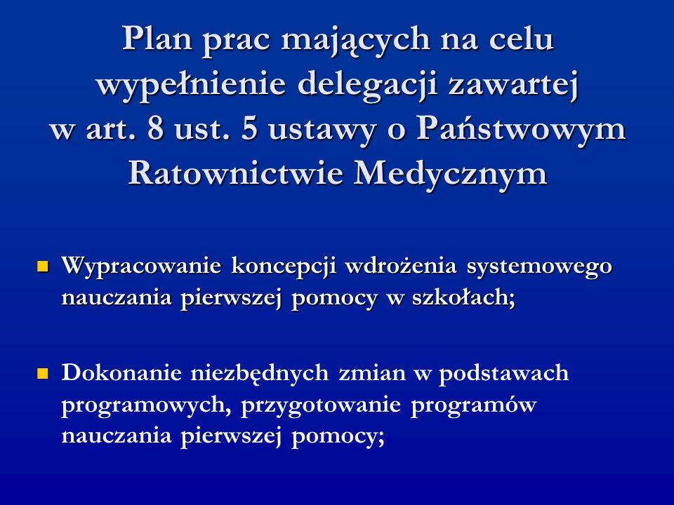 Plan prac mających na celu wypełnienie delegacji zawartej w art. 8 ust. 5 ustawy o Państwowym Ratownictwie Medycznym Wypracowanie koncepcji wdrożenia