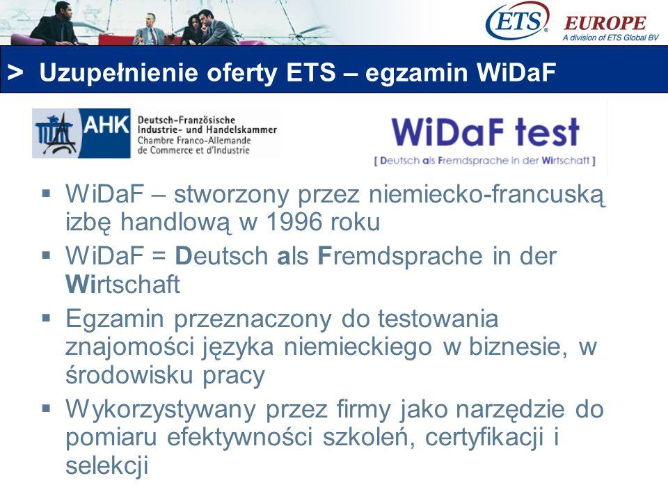 > Uzupełnienie oferty ETS – egzamin WiDaF WiDaF – stworzony przez niemiecko-francuską izbę handlową w 1996 roku WiDaF = Deutsch als Fremdsprache in de