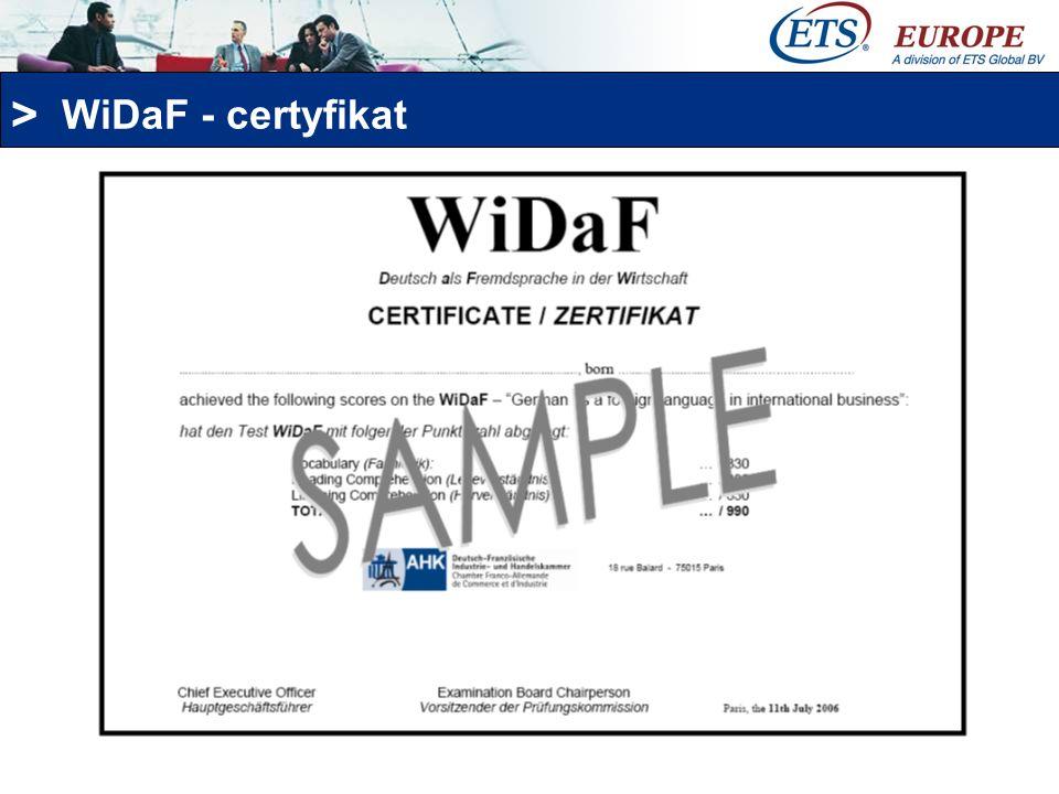 > WiDaF - certyfikat