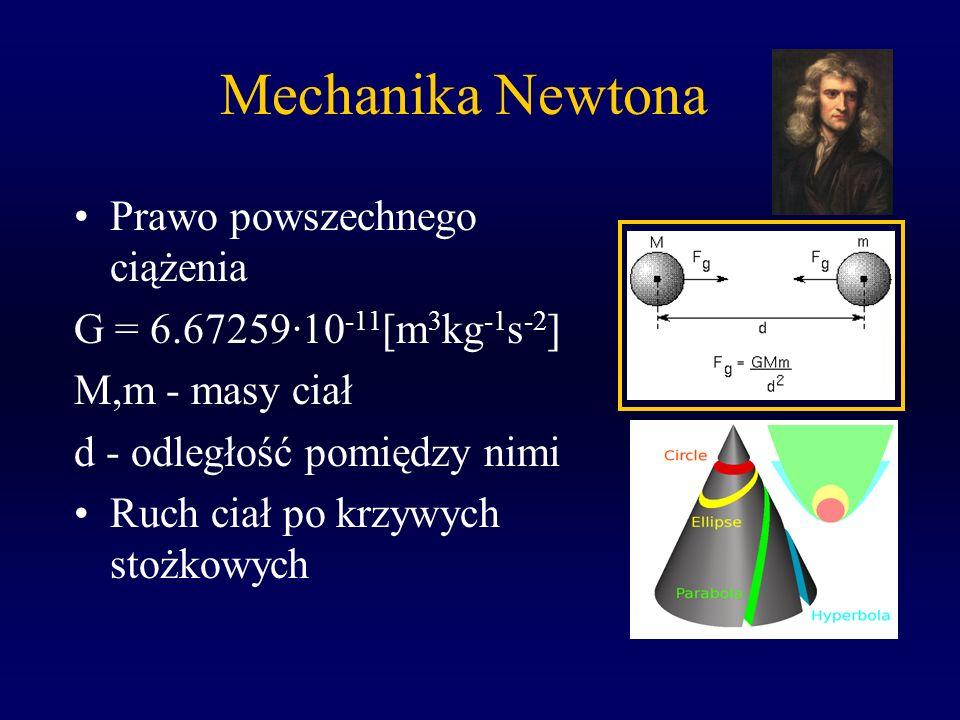 Mechanika Newtona Prawo powszechnego ciążenia G = 6.67259·10 -11 [m 3 kg -1 s -2 ] M,m - masy ciał d - odległość pomiędzy nimi Ruch ciał po krzywych s