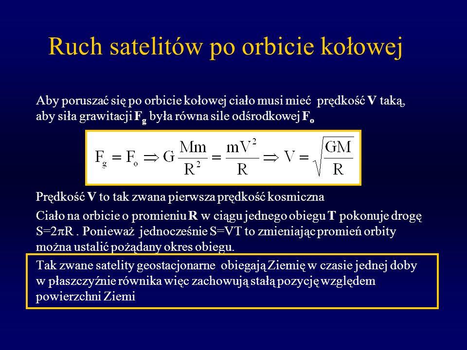 Ruch satelitów po orbicie kołowej Aby poruszać się po orbicie kołowej ciało musi mieć prędkość V taką, aby siła grawitacji F g była równa sile odśrodk