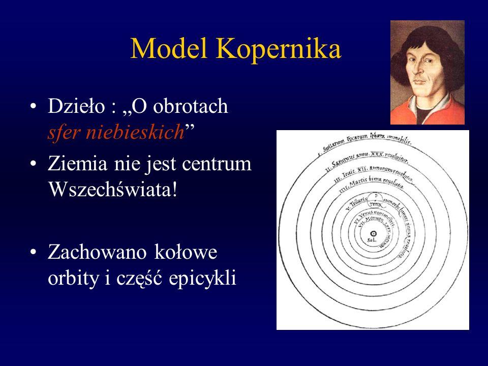 Model Kopernika Dzieło : O obrotach sfer niebieskich Ziemia nie jest centrum Wszechświata! Zachowano kołowe orbity i część epicykli