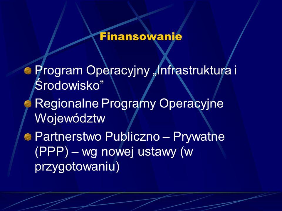Finansowanie Program Operacyjny Infrastruktura i Środowisko Regionalne Programy Operacyjne Województw Partnerstwo Publiczno – Prywatne (PPP) – wg nowej ustawy (w przygotowaniu)