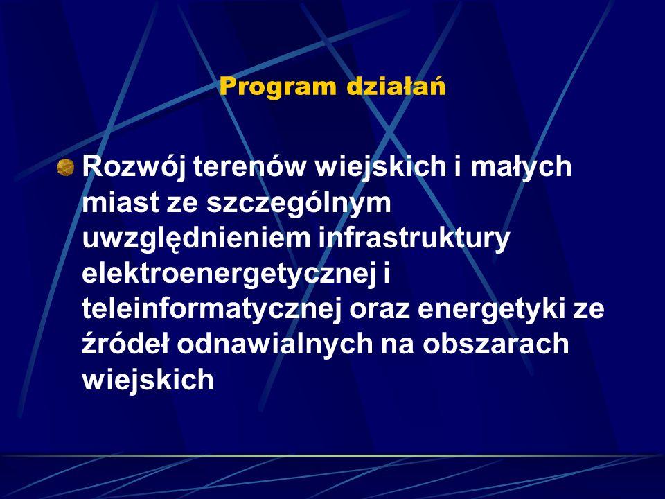 Program działań Rozwój terenów wiejskich i małych miast ze szczególnym uwzględnieniem infrastruktury elektroenergetycznej i teleinformatycznej oraz energetyki ze źródeł odnawialnych na obszarach wiejskich