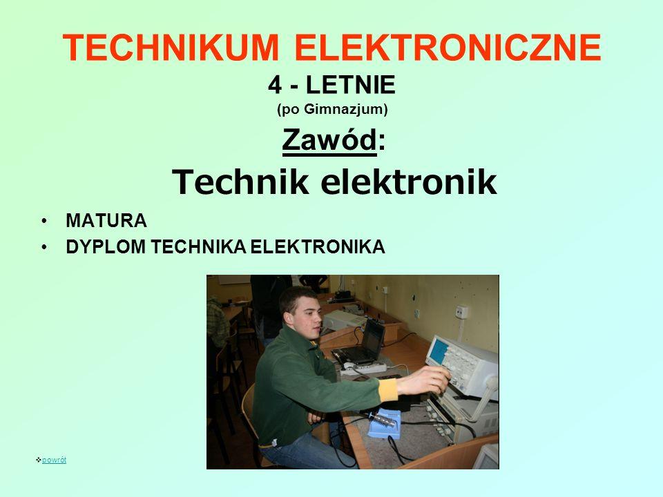 TECHNIKUM ELEKTRONICZNE 4 - LETNIE (po Gimnazjum) Zawód: Technik elektronik MATURA DYPLOM TECHNIKA ELEKTRONIKA powrót