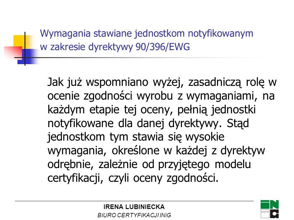 IRENA LUBINIECKA BIURO CERTYFIKACJI INiG Wymagania stawiane jednostkom notyfikowanym w zakresie dyrektywy 90/396/EWG Jak już wspomniano wyżej, zasadni