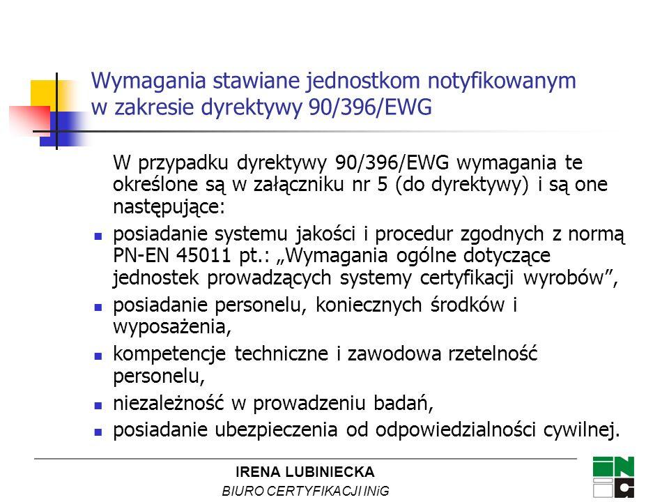 IRENA LUBINIECKA BIURO CERTYFIKACJI INiG Wymagania stawiane jednostkom notyfikowanym w zakresie dyrektywy 90/396/EWG W przypadku dyrektywy 90/396/EWG