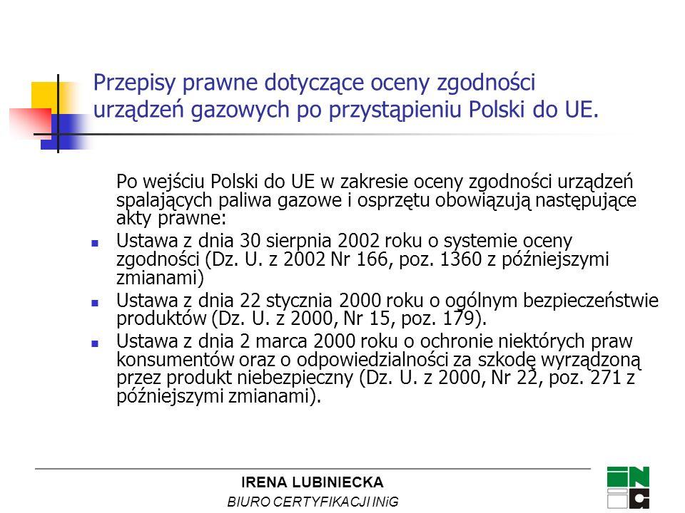 IRENA LUBINIECKA BIURO CERTYFIKACJI INiG Po wejściu Polski do UE w zakresie oceny zgodności urządzeń spalających paliwa gazowe i osprzętu obowiązują n