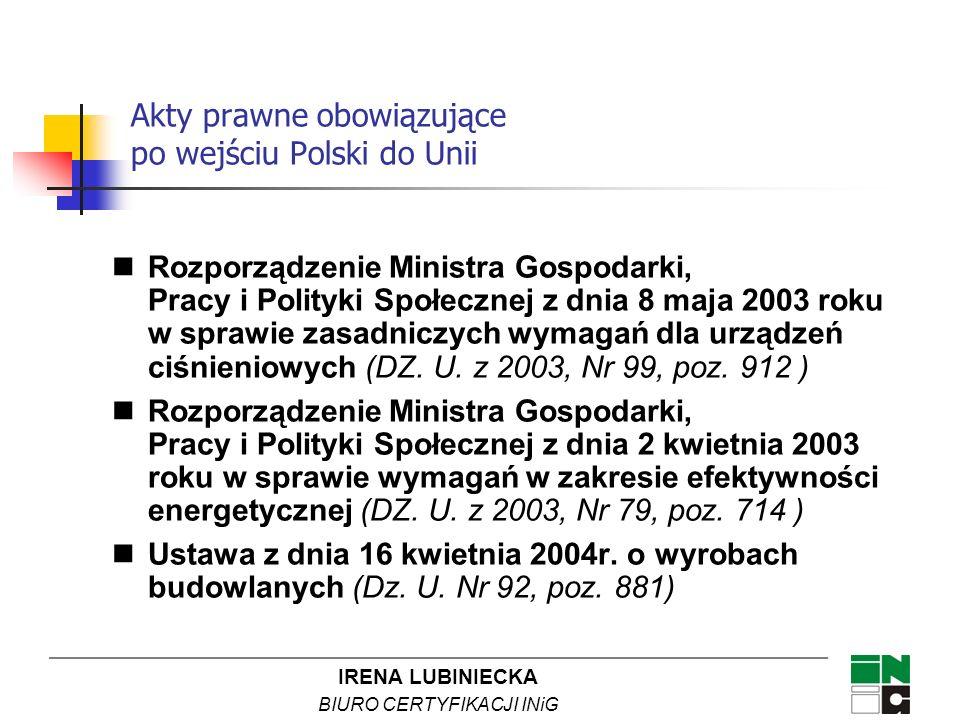 IRENA LUBINIECKA BIURO CERTYFIKACJI INiG Akty prawne obowiązujące po wejściu Polski do Unii Rozporządzenie Ministra Gospodarki, Pracy i Polityki Społe