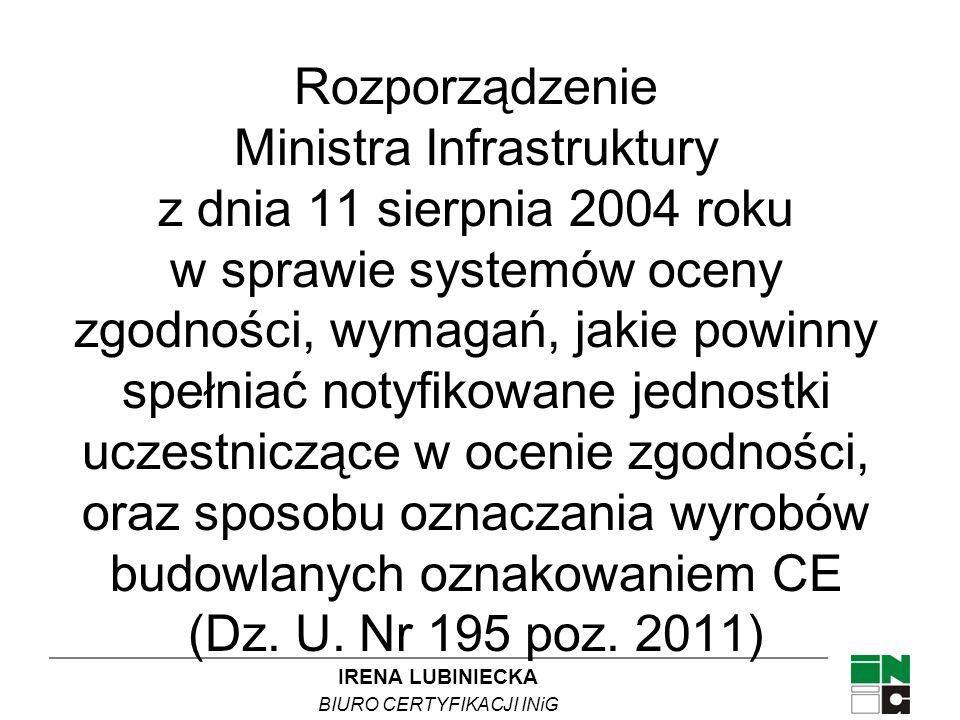 IRENA LUBINIECKA BIURO CERTYFIKACJI INiG Rozporządzenie Ministra Infrastruktury z dnia 11 sierpnia 2004 roku w sprawie systemów oceny zgodności, wymag