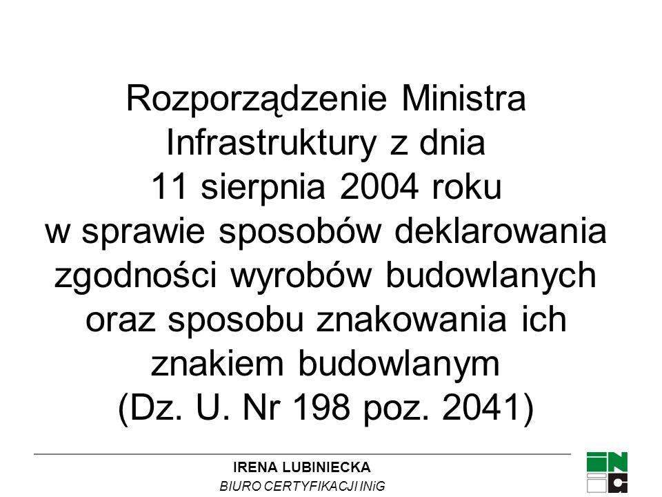 IRENA LUBINIECKA BIURO CERTYFIKACJI INiG Rozporządzenie Ministra Infrastruktury z dnia 11 sierpnia 2004 roku w sprawie sposobów deklarowania zgodności