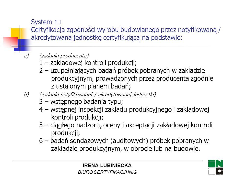 IRENA LUBINIECKA BIURO CERTYFIKACJI INiG System 1+ Certyfikacja zgodności wyrobu budowlanego przez notyfikowaną / akredytowaną jednostkę certyfikującą