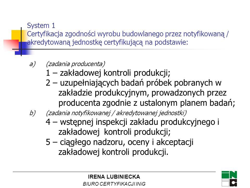 IRENA LUBINIECKA BIURO CERTYFIKACJI INiG a)(zadania producenta) 1 – zakładowej kontroli produkcji; 2 – uzupełniających badań próbek pobranych w zakład