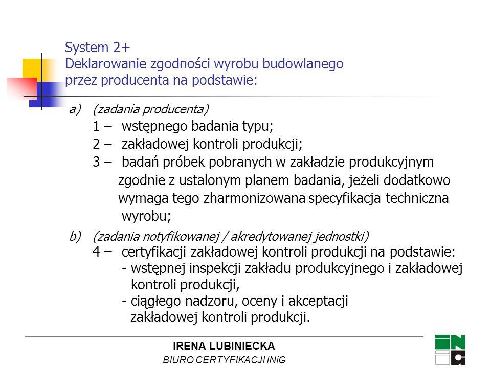 IRENA LUBINIECKA BIURO CERTYFIKACJI INiG System 2+ Deklarowanie zgodności wyrobu budowlanego przez producenta na podstawie: a)(zadania producenta) 1 –