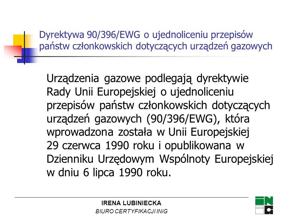IRENA LUBINIECKA BIURO CERTYFIKACJI INiG Dyrektywa 90/396/EWG o ujednoliceniu przepisów państw członkowskich dotyczących urządzeń gazowych Urządzenia