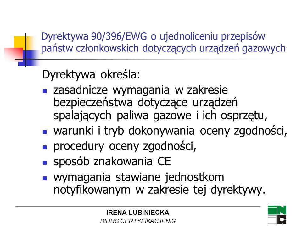 IRENA LUBINIECKA BIURO CERTYFIKACJI INiG Dyrektywa 90/396/EWG o ujednoliceniu przepisów państw członkowskich dotyczących urządzeń gazowych Dyrektywa o