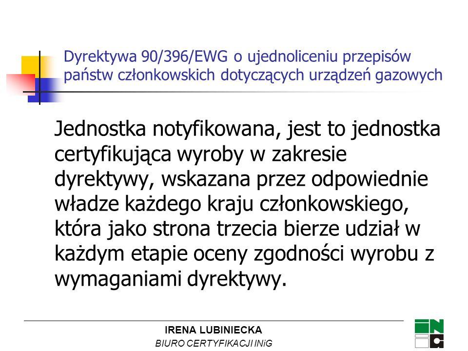 IRENA LUBINIECKA BIURO CERTYFIKACJI INiG Postanowienia dyrektywy 89/106/EEC wdrożona do polskiego ustawodawstwa ustawa z dnia 16 kwietnia 2004 roku o wyrobach budowlanych (Dz.