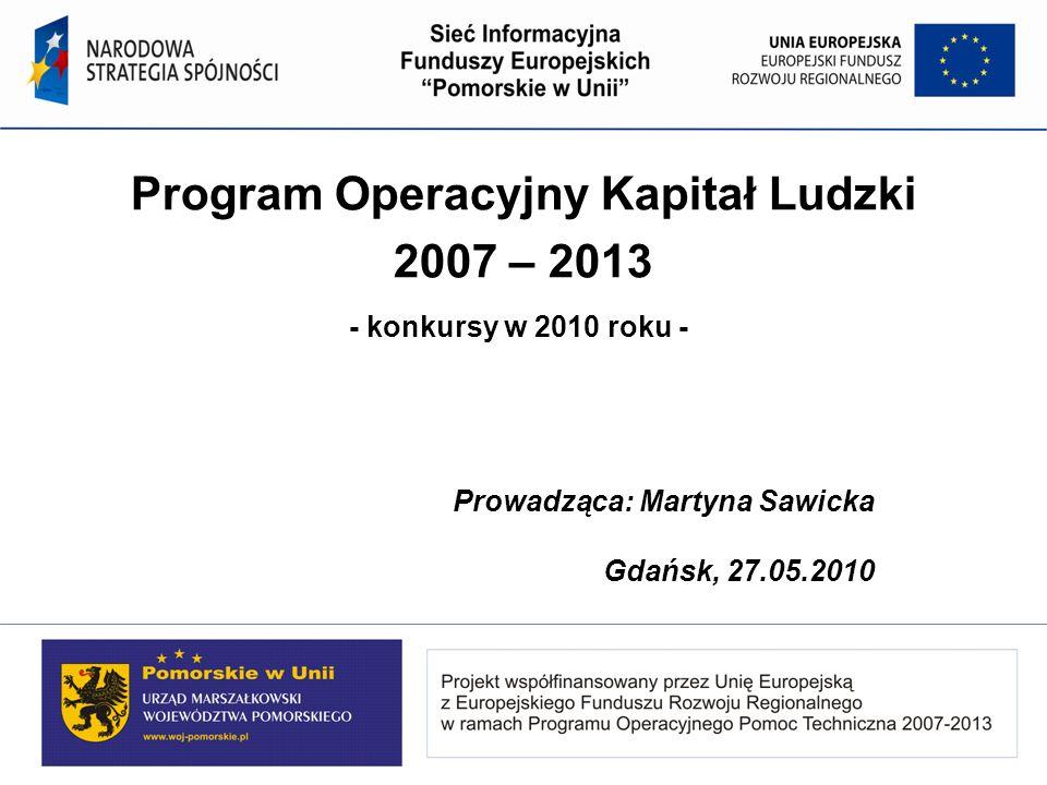 Program Operacyjny Kapitał Ludzki 2007 – 2013 - konkursy w 2010 roku - Prowadząca: Martyna Sawicka Gdańsk, 27.05.2010