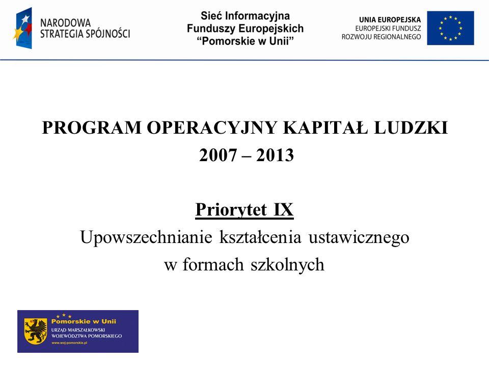 Program Operacyjny Kapitał Ludzki PROGRAM OPERACYJNY KAPITAŁ LUDZKI 2007 – 2013 Priorytet IX Upowszechnianie kształcenia ustawicznego w formach szkolnych