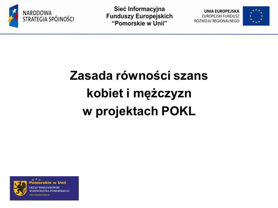 Program Operacyjny Kapitał Ludzki Zasada równości szans kobiet i mężczyzn w projektach POKL