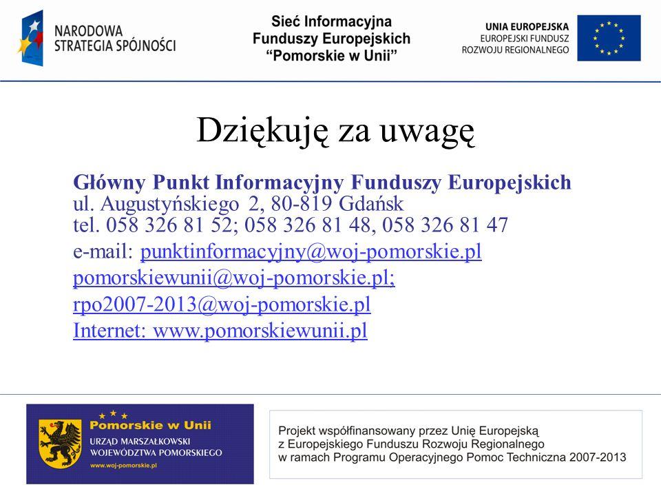 Dziękuję za uwagę Główny Punkt Informacyjny Funduszy Europejskich ul.