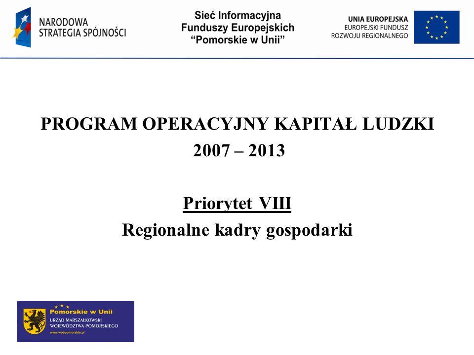 Program Operacyjny Kapitał Ludzki Działanie 8.1 Rozwój pracowników i przedsiębiorstw w regionie Cel Działania: Podniesienie i dostosowanie kwalifikacji i umiejętności osób pracujących do potrzeb regionalnej gospodarki.