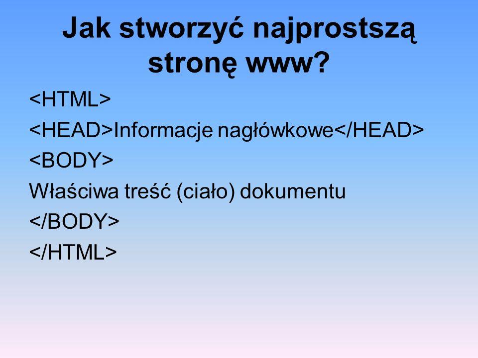 Jak stworzyć najprostszą stronę www? Informacje nagłówkowe Właściwa treść (ciało) dokumentu