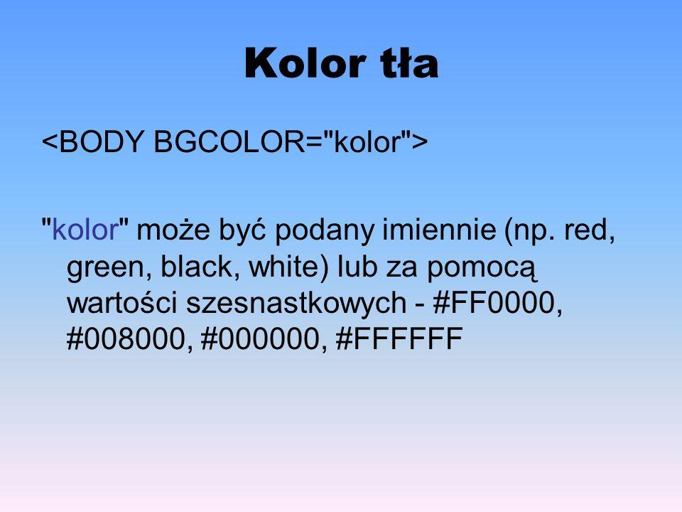 Wygląd i styl czcionki – cz.III AtrybutOpis backgroundUmożliwia jednoczesne definiowanie szeregu wartości atrybutów tła.